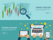 Vector illustration Flat background Market trade Trading platform and account Moneymakingbusiness Market analysis Investing