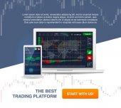 Vector modern illustration Market trade Binary option Trading platform account Moneymaking business Market analysis Investing Application for phone laptop tablet