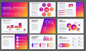 Big infographics in modern gradient style. Vector illustration about digital projects, management, clients brief, design and communication. Use in website, report, presentation, advertising, marketing