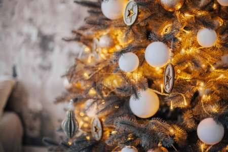 Photo for Christmas and New Year holidays background with decorated christmas tree - Royalty Free Image