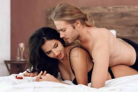 Romantic date of young passionate couple. Sexual relations among young people. Intimate affinity.