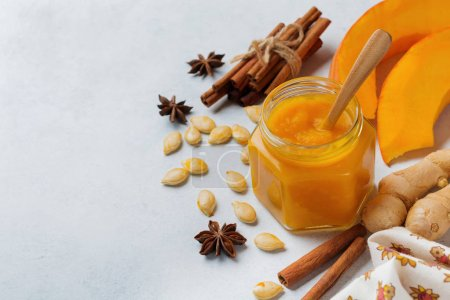 Spicy pumpkin puree with cinnamon, anise and ginge...