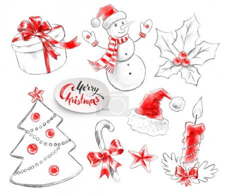 Photo for Hand drawn pencil and watercolor collection of Christmas objects. - Royalty Free Image