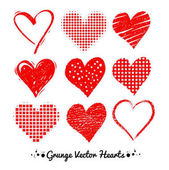 Vector collections of grunge Valentine hearts