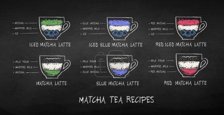 Vector illustration of chalk drawn Matcha recipes