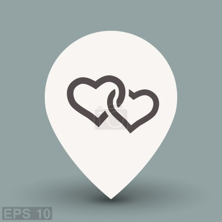 Illustration for Pictograph of two hearts. Vector concept illustration for design. - Royalty Free Image
