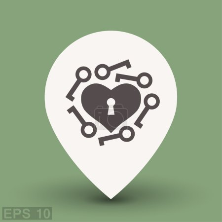 Pictograph of heart with keys. Vector concept illu...