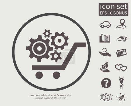 Gear wheels on cart icon