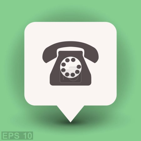 Old telephone in dialog bubble
