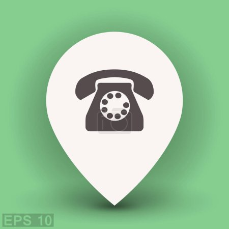 Old telephone icon in location pointer
