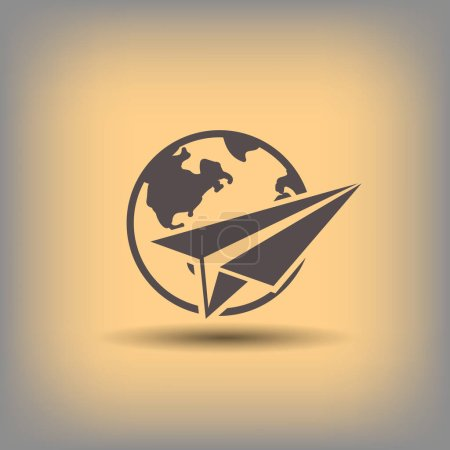 Paper plane with globe