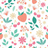 pattern with leaves flowers cherries and strawberries