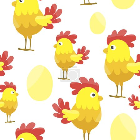 little cartoon chicks with eggs