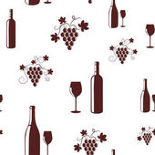 Vector seamless pattern with wine items Wine bottles and grapes