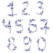 set with numbers drawn with drops