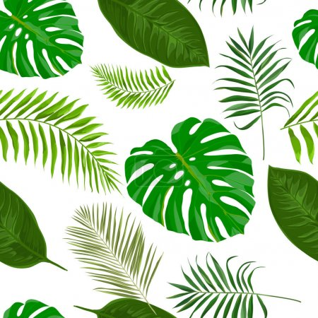 Illustration for Vector seamless pattern with tropical exotic leaves - Royalty Free Image