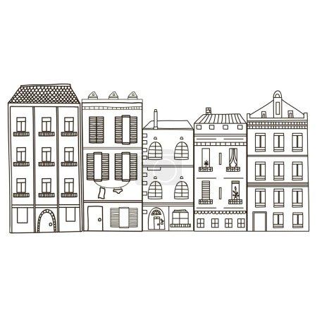 cartoon hand drawn buildings
