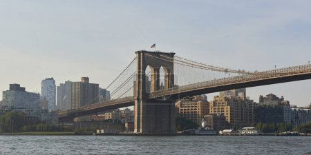 Photo for Brooklyn Bridge and New York city in the background - Royalty Free Image