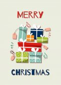 cute crtoon greeting christmas card with colorful gift boxes and wish.