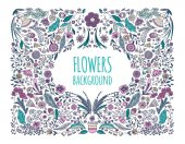 Floral background Hand drawing Linear style Vector illustration