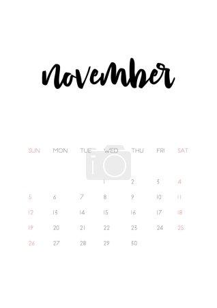 november 2017 calendar page
