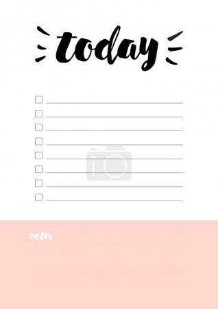 blank notebook sheet with word today