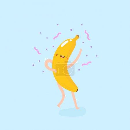 Illustration for Cute funny dancing banana drawing - Royalty Free Image