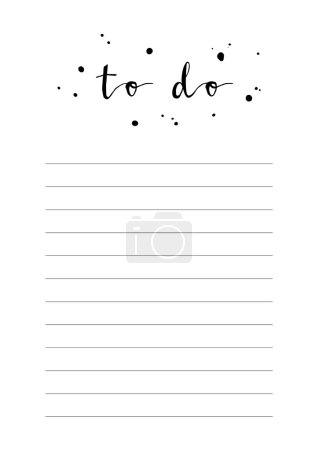 white notebook sheet with words to do