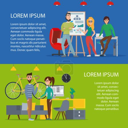 Illustration for Business characters scene. Teamwork in modern business office. Cartoon poster vector illustration. Banners set for your web design in business style. Template for your text. - Royalty Free Image