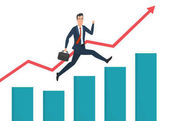 Businessman running grow up graph. Business cartoon concept. Vector illustration isolated on white background in flat style.