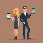 Businessman and business woman holding a tablet with growing graph Business concept Vector creative color illustrations flat design in flat modern style