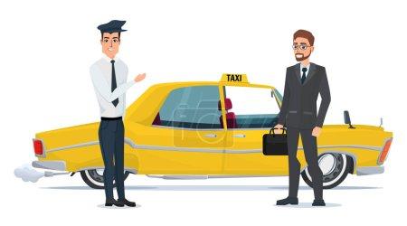 Illustration pour Chauffeur de taxi invite les gens d'affaires homme d'affaires aller en voiture. Illustration vectorielle isolée sur fond blanc dans un style plat - image libre de droit