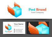 Delivery Post Corporate Logo and Business Card Sign Template Creative Design with Colorful Logotype Visual Identity Composition Made of Multicolored Element Vector Illustration