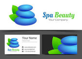 Spa Yoga and Relax Corporate Logo and Business Card Sign Template Creative Design with Colorful Logotype Visual Identity Composition Made of Multicolored Element Vector Illustration