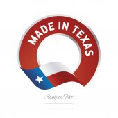 Made in Texas flag red color label button banner