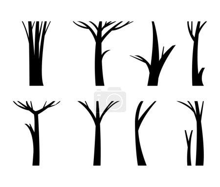 Illustration pour Illustration tronc d'arbre mort branche unique de la forêt. Nature bois tronc arbre forêt branche environnement. Tronc d'arbre sans feuilles vecteur bois organique ensemble sec. Ensemble de branches d'arbres secs en bois . - image libre de droit