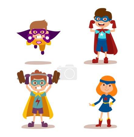 Illustration for Superhero kids boys and girls cartoon vector illustration. Super children illustration. Super hero kids playing, fly success people concept vector illustration - Royalty Free Image