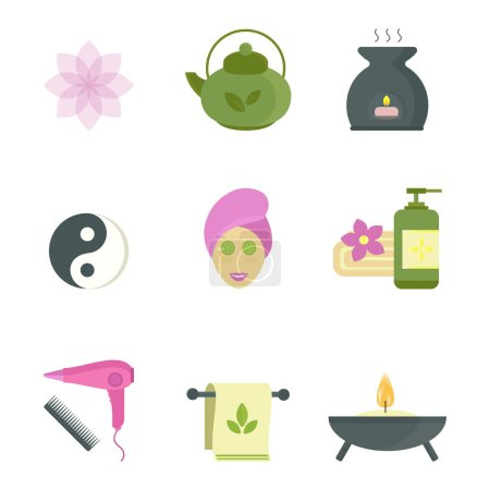 Illustration for Spa beauty and body care vector icons and spa woman mask. Spa woman on white background. Spa silhouette sign. Body and skin care modern style illustration - Royalty Free Image