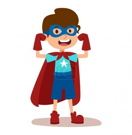 Illustration for Superhero kid boy cartoon vector illustrationt. Super children illustration. Super hero kid boy play, fly success people concept vector illustration - Royalty Free Image
