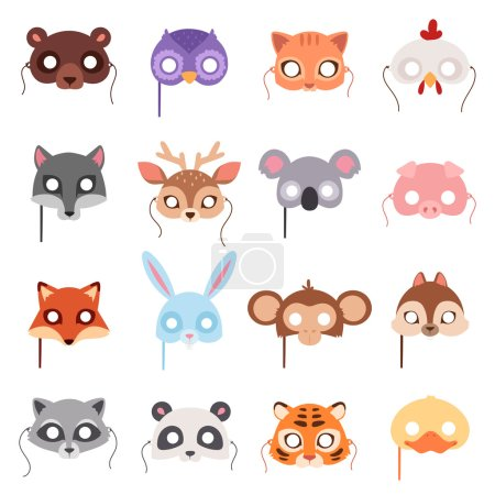 Illustration for Set of cartoon animals party masks vector. Animal carnival mask vector holiday illustration party fun symbols. Celebration animal carnival mask character head masquerade festival decoration. - Royalty Free Image