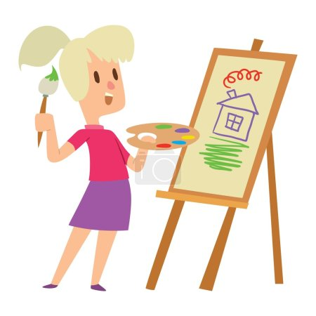 Illustration for Boy and girl artist kids children. Education artist kids children painting around blank canvas with space for text. Creative little artist kids children preschool colorful characters vector. - Royalty Free Image