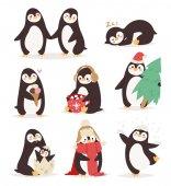 Penguin set vector characters