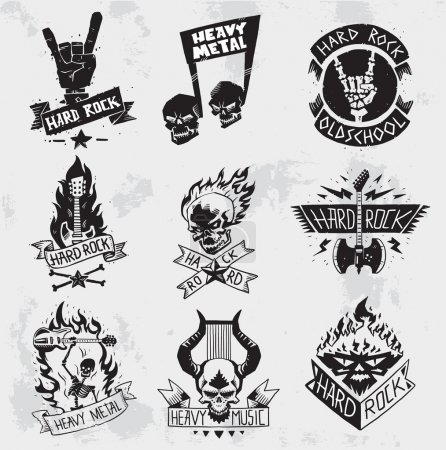 Heavy Metal rock badges vector set.