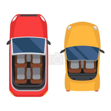 Illustration pour Icône de voitures vectorielles isolées. Vue du dessus de la voiture. Véhicule de transport collection design voiture vue du dessus moteur . - image libre de droit