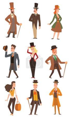 Vector design victorian people.