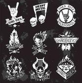 Heavy Metal rock badges vector set