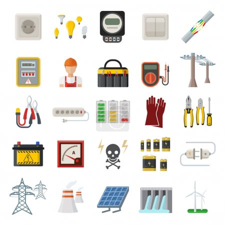 Illustration for Energy, electricity, power icons. Wind ecology sun energy icons illustration oil battery vector. Energy icons environment, electricity vector solar bulb water nature renewable. - Royalty Free Image