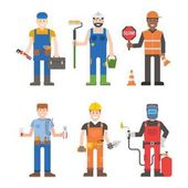 Workers man vector set