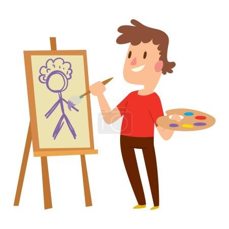 Illustration for Artist kid children. Education artist kid children painting. Creative little artist baby kid children preschool colorful character vector. - Royalty Free Image