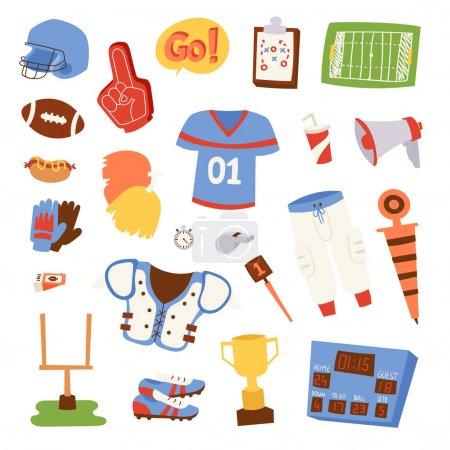 American football icons vector set.